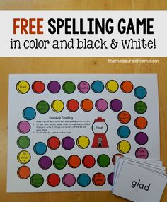for a free spelling activity? Just write words on cards and print this free spelling game for some colorful practice.Looking for a free spelling activity? Just write words on cards and print this free spelling game for some colorful practice. Free Spelling Games, Spelling Word Activities, Spelling Word Practice, Spelling Centers, First Grade Spelling, Spelling And Grammar, Spelling Words, Spelling Ideas, Spelling Worksheets