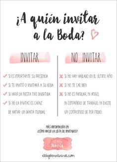 ¿A quién invitar a la boda?   ¿Cómo hacer la lista de invitados?   El Blog de una Novia   #boda #invitados