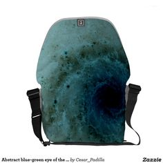 Abstract blue-green eye of the hurricane courier bag. #Abstract #Art #Vortex