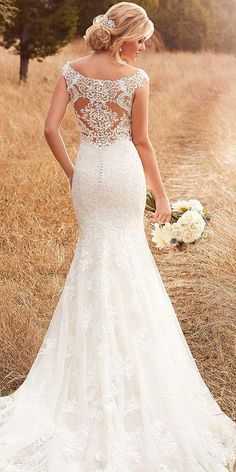 30 Sophicticated Backless Wedding Dresses ❤ backless wedding dresses mermaid with cap sleeeves illusion with buttons essense of australia ❤ See more: http://www.weddingforward.com/backless-wedding-dresses/ #weddingforward #wedding #bride