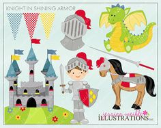 Knight in Shining Armor Cute Digital Clipart for Invitations, Card Design, Scrapbooking, and Web Design, Knight Clipart