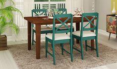 Conjunto para Sala de Jantar com Mesa Extensível e 4 Cadeiras Castanho Claro/Azul/Bege - Caaza