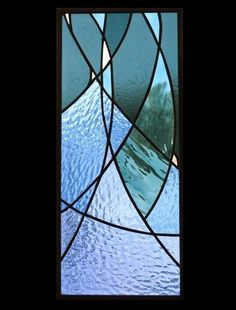 Stained glass panel of stars blue