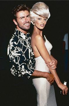 """George Michael and Linda Evangelista during the """"Too Funky"""" video shoot circa 1992 in Paris, France. Get premium, high resolution news photos at Getty Images George Michael 80s, George Michel, Royal Albert Hall, Julia Hobbs, Mtv Music, Naomi Campbell, My Idol, Vivienne Westwood, Georgia"""