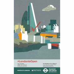 Paul Catherall, the renowned linocut artist has been commissioned by London Transport Museum and Transport for London to produce a series of posters to celebrate the Mayor of London's '#London is Open' campaign. Each poster features a prominent London landmark and as a group the posters form a continuous image. The Gherkin (30 St Mary Axe) and Cheesegrater (122 Leadenhall Street) feature prominently in the City of London image.