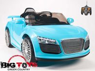 big toys green country audi r8 spider kids ride on car with remote baby blue