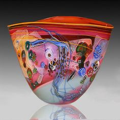 Fused glass vase, for the display unit