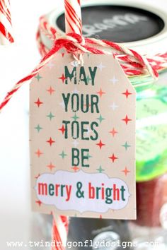 Mason Jar Pedicure Gift Tag