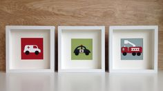 Ambulance, Police Car, Fire Truck Set of 3 Leather Applique Art Cards for Framing or for Birthday / Greeting Cards, Blank Inside