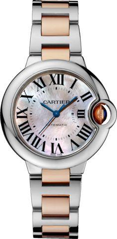 Reloj Ballon Bleu de Cartier 33 mm, oro rosa y acero