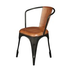 This furniture is truly one-of-a-kind. This is one cool chair. Our industrial chic chairs have a distressed honey leather on the seat and back with distinctive metal legs.