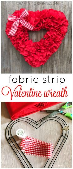 How to make this beautiful fabric strip heart wreath for Valentine's Day! It's so easy and such a fun craft to make.