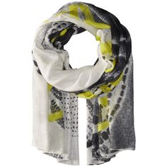 Liebeskind F1179520 Modal Scarf (Flashing Yellow Aziza) (£120) ❤ liked on Polyvore featuring accessories, scarves, patterned scarves, yellow shawl, liebeskind, print scarves and yellow scarves