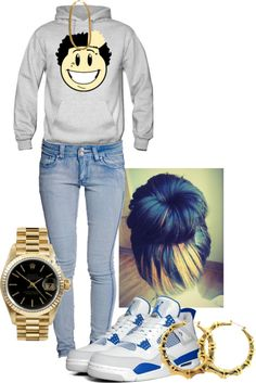 A fashion look from February 2013 featuring blue jeans, gold jewelry and hoop earrings. Browse and shop related looks. Swag Outfits For Girls, Lit Outfits, Cute Swag Outfits, Jordan Outfits, Dope Outfits, Casual Outfits, Chill Outfits, Dope Fashion, Fashion Killa