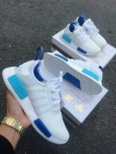 24ed0b36d28607 ADIDAS Women s Shoes - Adidas NMD White Blue Glow - Find deals and best  selling products for adidas Shoes for Women