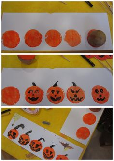 """Potato printing/Kartoffeldruck to make Jack-o-Lantern faces for pre-school.  Cut potato in half, paint with orange color, print onto paper.  Use a paintbrush to draw faces.  To be used with """"5 Pumpkins sitting on a Gate"""" poem."""