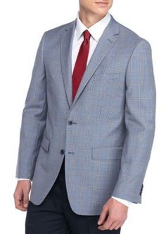 Vince Camuto Powder Blue Plaid Modern-Fit Plaid Sport Coat