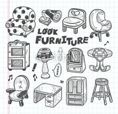 doodle Furniture icons - Buy this stock vector and explore similar vectors at Adobe Stock Bbq Party, Cartoon Drawings, Doodle Art, Doodles, Sketches, Clip Art, Lettering, Comics, Creative