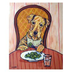 Hey, I found this really awesome Etsy listing at http://www.etsy.com/listing/94242045/airedale-terrier-eating-broccoli-dog-art