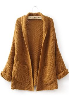 Yellow Plain Pockets Long Sleeve Cardigan