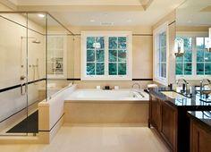 Example dark wood, dark counter top, light floor, white sinks