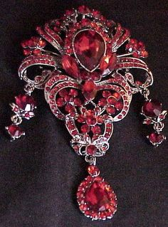 """Large Red and Silver Brooch 4.25 x 2.2.5"""" -   $24.99 free frgt - NJ"""