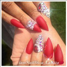 Matte red for my boo @michelbombshell  #nowbooking #nails #nailartist #nailstylist #nailsbylakita #atlanta #atlnails #atlnailtech #atlantanails #swarovski #swarovskicrystals #celebritynailsatl #celebritynailtech