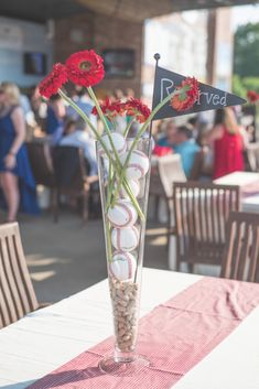 Baseball and Peanut Vase Centerpiece