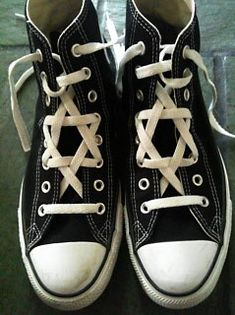 Jewish Star laced hightops ~ Okay, so they're shoes. Too cute not to pin somewhere. . . .