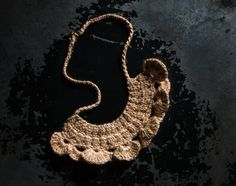 Beige Cotton Necklace With Gold Lurex Thread. Crocheted Jewelry. Crochet Accessories. Gift for Her. Trends 2014