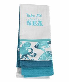 DEI To the Sea Dish Towel - Set of Three | zulily