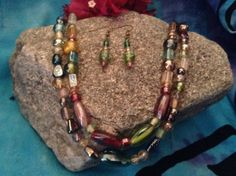 Funky Glass Bead Necklace and Earring Set by WirednStrung on Etsy