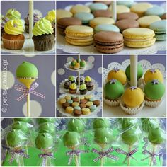Cupcakes, macarons, cake pops & petits fours for a colorful christening! Cupcakes, Cake Pops, Christening, Macarons, Events, Colorful, Desserts, Food, Petit Fours