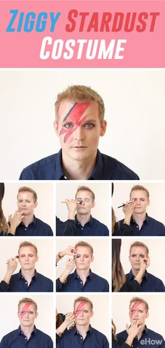 Channel your inner Ziggy Stardust this Halloween and rock his iconic lighting bolt. This tutorial has step by step images and a video to show you how-to recreate this look yourself.  http://www.ehow.com/how_10021634_make-ziggy-stardust-costume.html?utm_source=pinterest.com&utm_medium=referral&utm_content=curated&utm_campaign=fanpage