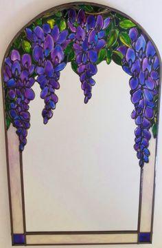 Wisteria ~ A medida de estilo Art Nouveau ~ vidrieras Tiffany inspirado Wisteria con plomo, los 30x50cm arco espejo. Diseñado y hecho por Douglas Payne.