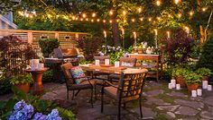 Patio arranged for entertaining after dark  | Outdoor Living Spaces