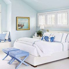 Know you were interested in doing blue walls in your bedroom. this looks so relaxing and clean...