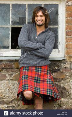 Scottish male in kilt Stock Photo Guys In Skirts, Boys Wearing Skirts, Men In Kilts, Kilt Men, Modern Kilts, Irish Fashion, Men Fashion, Scottish Clothing, Utility Kilt
