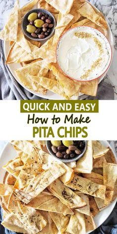 Here is how to make homemade pita chips out of pita bread. Crunchy and delicious, they are perfect to dip, dunk and pair with a cheese platter. #pitachips #snacks #easyrecipe @sweetcaramelsunday Most Popular Recipes, Great Recipes, Favorite Recipes, Healthy Recipes, Easy Recipes, Oven Baked Chips, Baked Pita Chips, Sweets Recipes, Drink Recipes