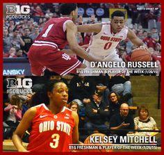 1-26-2015 D'ANGELO RUSSELL AND KELSEY MITCHELL BOTH NAME B1G PLAYER AND FRESHMAN OF THE WEEK. Osu Basketball, Big Photo, Ohio State University, Buckeyes, Freshman, Nba, Baseball Cards