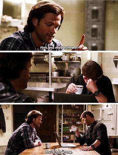 Supernatural 11x13 Love Hurts // Sam: First, you need a shower. Dean: You're not wrong.