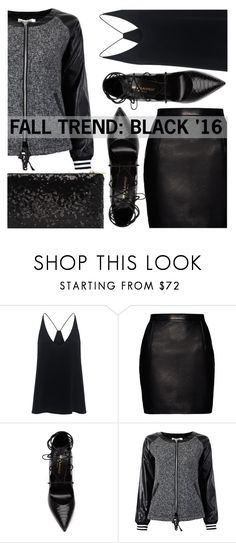 """""""BLACK + BLACK"""" by eclectic-chic ❤ liked on Polyvore featuring TIBI, Magda Butrym, Yves Saint Laurent, black, bomberjacket and Fall2016"""