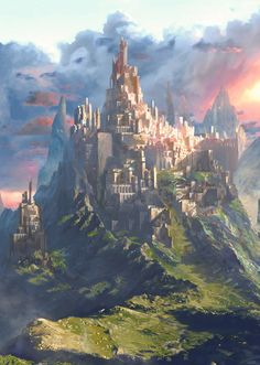 Fantasy Art Watch — Castle and Sunset by ATEC