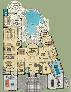 first floor -- Plan Top-Of-The-Line Mediterranean Villa (Architectural Designs) Luxury House Plans, Dream House Plans, House Floor Plans, My Dream Home, Luxury Floor Plans, Mansion Floor Plans, Unique Floor Plans, Courtyard House Plans, Mediterranean Villa