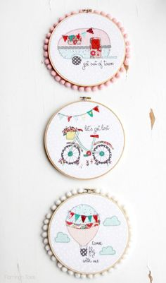 Cute Summer Inspired Embroidery projects - with free patterns!