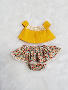 Baby Girls Boho Outfit-Baby Girls Boho Skirt- Baby Girls Boho Crop Top-baby Girls Skirt- Baby Girls Ruffled Bloomers- Baby size NB-12/18mths by GeeBabyDesigns on Etsy
