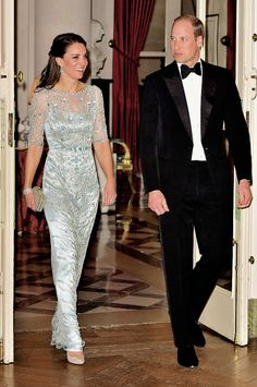 """""""The Duke and Duchess of Cambridge arrive for a dinner hosted by Her Majesty's Ambassador to France, Edward Llewellyn, at the British Embassy in Paris, as part of their official visit to the French..."""