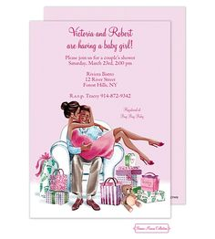 Kisses For Baby (Pink/Multicultural) Invitation