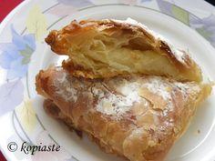 Bougatsa ((Phyllo Pastry filled with sweet cream) http://kopiaste.org/2011/04/bougatsa-phyllo-pastry-with-sweet-cream-and-nistisimi-bougatsa-vegan/ Μπουγάτσα  http://www.kopiaste.info/?p=7003