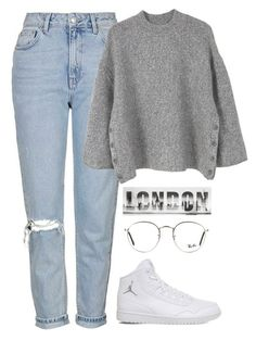 """""""Başlıksız #294"""" by young-stylist ❤ liked on Polyvore featuring Topshop, MANGO, NIKE and Ray-Ban"""